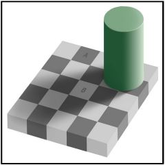 Same Color Illusion. Also known as Adelson's checker shadow illusion (published by Edward H. Adelson) depicts something hard to believe. Square marked B looks considerably lighter than square A, due to the